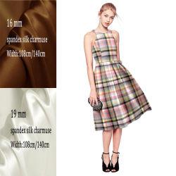 140cmの幅の卸売のデジタル印刷の衣服のための純粋で自然な絹の伸張のCharmeuseファブリック