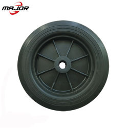高品質は10インチポリウレタンタイヤ芝刈機のためのプラスチック縁が付いている車輪のチューブレスタイヤの穿刺の証拠の泡立った