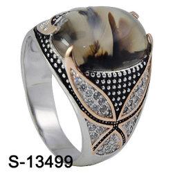 925 homens de Prata Ring Micro definindo os anéis de Pedra Natural de Pedra