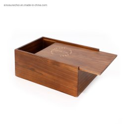 صندوق خشبي بني اللون للطباعة على الورنيش لتغليف الشاي