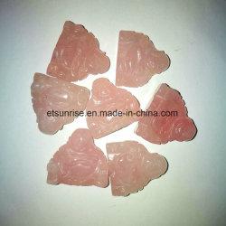 Talla de Buddha del cuarzo de Rose de la piedra preciosa semi pequeña