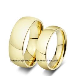 人および女性のためのステンレス鋼の宝石類の高い磨かれた金の結婚指輪