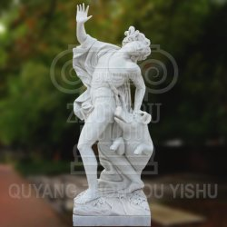 Marble Carved Man and Pig in Wrestling Classic Statue for Garden Decoration Sculpture