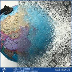 3-8mm 투명 녹색 청동 파란색 패턴 텍스처 유리 인쇄됨 중국