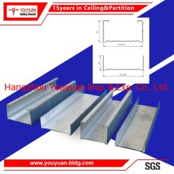La partición de la Junta de yeso el yeso de la luz de la quilla de acero galvanizado de Metal Perfil vía&bastidor de pared de espárrago entramado de Canales Sistema de división de la habitación