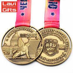 Altamente Polidos Custom Design redondo comemorativas vencedor Medalha de Ouro