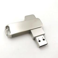 회전대 USB Flash Drive Metal USB Memory Stick USB 2.0 Pen Drive Silver U Disk 16g 32g 64G 128g Gift U Disk
