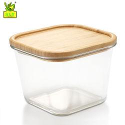 750 мл/1750мл исключительные декоративные стеклянные продовольственной контейнеры для хранения Бенто ланч-бокс с бамбуковой крышки багажника