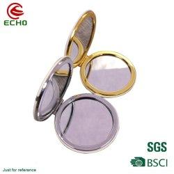 Mode Petit miroir de maquillage compact de forme ronde de sublimation miroir de métal
