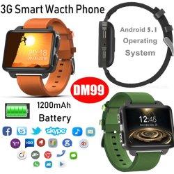 Nouveau 3G un grand écran de 1200mAh Smart montre téléphone portable avec moniteur de fréquence cardiaque Dm99