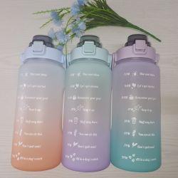 زجاجة مياه تحفيزية كبيرة بنصف جالون/64 أونصة بمقبض وقابل للإزالة القش - إبريق ماء مانع للتسرب خالٍ من مادة BPA