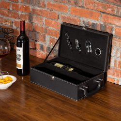 2 زجاجة [بروون] [لثرتّ] أعلى مقبض سفر خمر [كرّي كس] مع 4 قطعة شريكة مجموعة