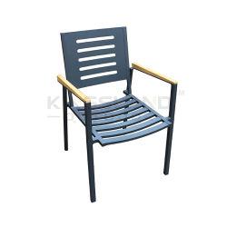 Muebles de lujo restaurante al aire libre de apilamiento de aluminio silla con reposabrazos de teca