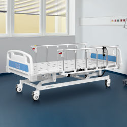 A6K fábrica de acero inoxidable equipos médicos eléctrico 3 función plegable Camas de hospital de UCI con fabricantes de ruedas