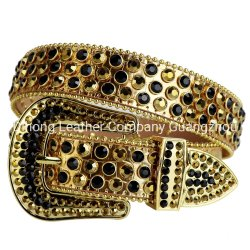 Westliches Bling buntes Kristallgold u. schwarze Rhinestone-Riemen-entfernbare Faltenbildung verzierter Cowboy-Riemen für Männer