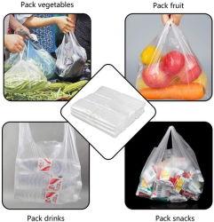 生物分解性ロールによって印刷される平らな農産物のゆとりのプラスチック食料雑貨のTシャツのキャリア包装はさみ金のごみ袋
