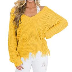 Recortada Camiseta Mujer Plus Size señoras angustiados suéter Color sólido de la mujer jerseys