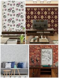맞춤형 패턴 홈 룸 침실 거실 장식 건물 재질 벽지 3D 패널 도매 방지벽 스티커가 PVC 벽을 덮고 있습니다 용지