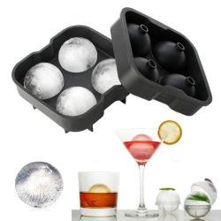 نموذج ويسكى صينية كوكتيل Silicone Ball Ice Cube متعدد الوظائف ذات 4 تجاويف بالنسبة إلى صانع قوالب الجليد المكعبات الثلجية