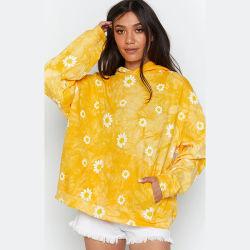 2020 Nova chegada Fashion Tie-Dyed Daisy Imprimir camisola de manga longa Blusa com capuz mulheres