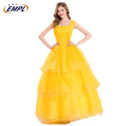 Vestido de fiesta vestidos de bola de Belleza y La Bestia Cosplay Costume Princesa vestidos ropa de mujeres