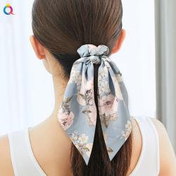 Moda Mujer Hairband accesorios para el pelo largo cintillos de cinta de satén niñas Ponytail Hairbands Scrunchies pelo diadema elástica
