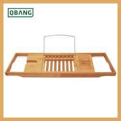 調節可能な木のタケ浴槽の記憶ラック容器の棚のたらいの皿のホールダーの立場