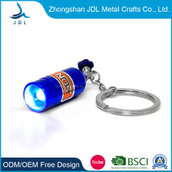 Comercio al por mayor regalo de promoción de aleación de zinc personalizada 2D 3D coloridos Popular Logotipo Sencillo botón de la luz de LED llavero linterna llavero ABS Souvenir de regalo (039)
