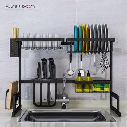 Titulaire de 65cm en acier inoxydable noir plat de drainer Stand Etendoir étagère évier de cuisine