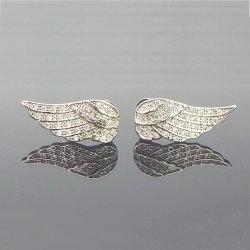 مجوهرات الموضة 925 الاسترليني فضة الفضة زركونيا انجيل أجنحة المحاجر للنساء