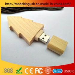 Madeira na árvore de Natal caneta USB Drive/ Bamboo Unidade Flash USB laser logotipo gravura