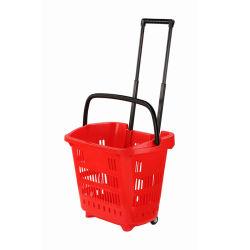 Cestino di acquisto di plastica di rotolamento con la maniglia per il supermercato con le rotelle
