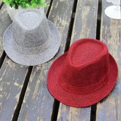 Logo personnalisé Type de papier de gros de paille de lin Chiffon tissé de Panama Hat Fedora