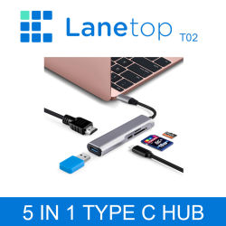 Concentrateur USB Lanetop C Type C vers HDMI Hub Ethernet Port Thunderbolt Multi USB 3.0 3 2 L'adaptateur secteur pour MacBook Pro Air Hub USB Dock-C