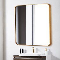 Золото из алюминиевого сплава с Круглой площади серебристый стекло наружного зеркала заднего вида в рамке в ванной комнате