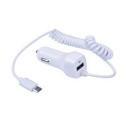 Chargeur de voiture USB unique blanc avec câble Micro pour Samsung