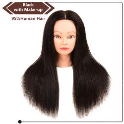 Cabeza de maniquí al por mayor de 95% de la formación de cabello humano Negro cabeza con el maquillaje para el estilo