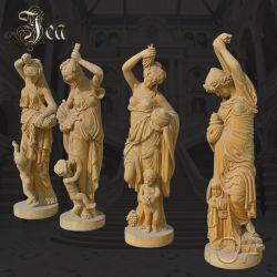 Personalizar la mano de mármol amarillo Jardín de tallado de esculturas de piedra cuatro estatuas de Dama temporada