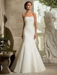 Por encargo fuera del hombro de encaje sirena vestido de novia de la boda
