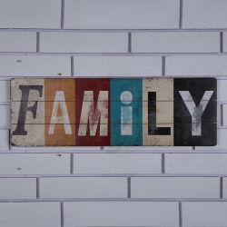 "Letras de madera""Familia"", placas de pared Arte colgantes de madera para interior de la carcasa"