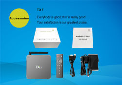 Android 6.0 2g 16g Smart TV Box Tx7 Quad Core Amlogic S905X verdadero 4k Salida HDMI TV Box Media Player