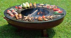 [أم] فحم نباتيّ خشبيّة مشتعلة معدن [كرتن] فولاذ نار حفرة قصع مشواة كبير