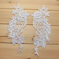 Applique nuziale del merletto di cerimonia nuziale dei Sequins bianchi all'ingrosso di modo