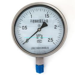 メーカーは手頃な価格の 4 インチエアオイル蒸気ステンレススチール製耐衝撃性 圧力ゲージ