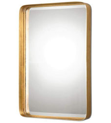 装飾的な金属フレームの長方形の黒の金浴室の虚栄心ミラー