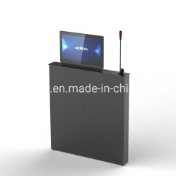 Kundenspezifische intelligente Büromaschinen für Konferenz-System Tischplatte motorisierten einziehbaren LCD-Monitor-Aufzug alle in einem System mit Mikrofon und Touch Screen