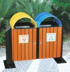Clasificación de la madera de exterior Papelera de reciclaje, la calle de basura, Papelera de reciclaje de bambú