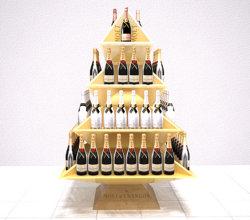 Het Drinken van de Drank van het Vakje van de Fles van de wijn de Tribune van de Vertoning van de Vloer van het Karton, de Golf Vrije Bevindende Pop omhooggaande Vertoning van het Document