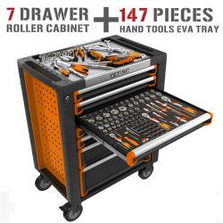 Repair를 위한 147 PCS Handtool Set를 가진 Kinbox 7 Drawer CNC Toolbox Trolley
