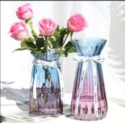De moderne Witte Vaas van het Glas van de Bloem van de Mond van het Huwelijk van het Decor Brede Blauwe Lange Duidelijke Moderne